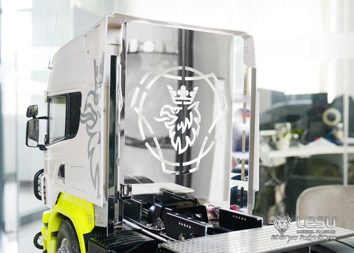 Lesu Rückwand Verkleidung Blende Edelstahl  für Tamiya LKW Scania 1:14 Lesu Getr